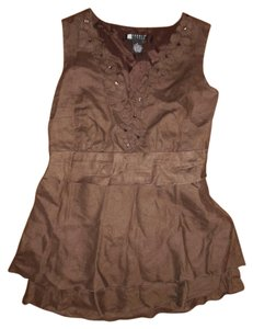 Carole Little Tie Beads Sequined Flowers Top Brown