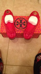 Tory Burch Patent Red Flats