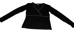 Ann Taylor LOFT Long Sleeve Crossover T Shirt Black and white