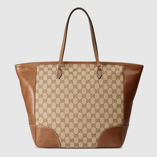 Gucci Leather/Canvas Tote in Original GG Canvas