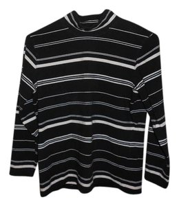 Talbots Turtleneck Striped T Shirt Black and white stripes