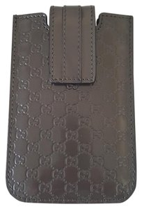 Gucci Gucci Micro Guccissima Brown Leather Patent Cell Phone Case