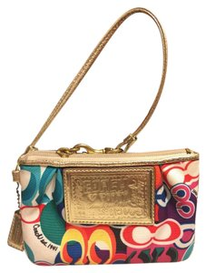 Coach Wristlet in Red/Yellow/Blue