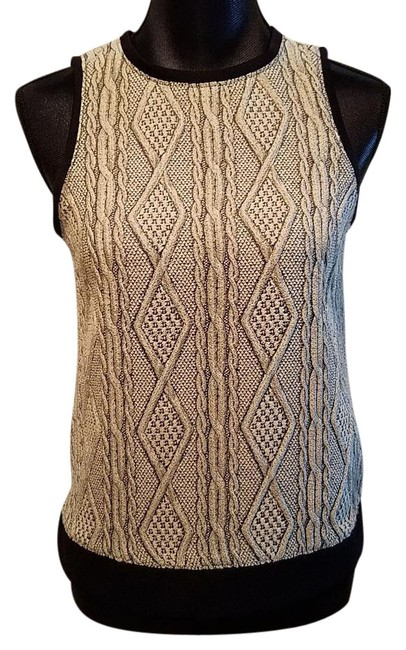 Preload https://item5.tradesy.com/images/tibi-oatmeal-and-black-cable-knit-wool-blend-sleeveless-blouse-size-0-xs-20001999-0-1.jpg?width=400&height=650