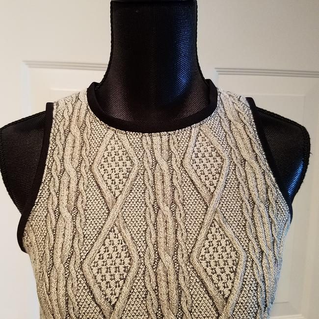 Tibi Cable Knit Wool Top Oatmeal and Black