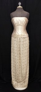 Silk Lace Long Strapless Dress