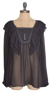 Zara Ruffle Sheer Dark Top GRAY