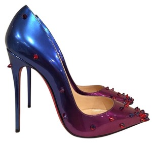 Christian Louboutin Degraspike Spike Patent Stiletto Ombre blue Pumps