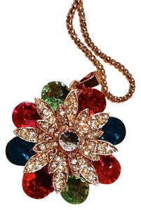 Betsey Johnson New Betsey Johnson Flower Necklace Gold Tone J3000