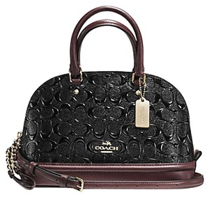 Coach Dome Leather Ox Blood Satchel in Black