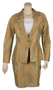 Richard Tyler Richard Tyler Gold & Green Silk Blend Skirt Suit, Size 10 (33664)