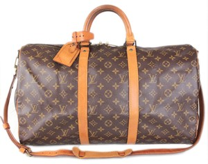 421217095ae4 Louis Vuitton Duffle Keepall Bandouliere 50 Carry On Suitcase Luggage  Monogram Canvas Weekend Travel Bag