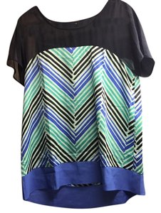 Ann Taylor Top Blue with teal and navy