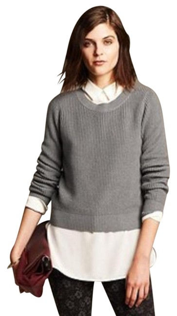 Preload https://item1.tradesy.com/images/banana-republic-grey-womens-cropped-ribbed-zip-back-m-sweaterpullover-size-8-m-20002315-0-1.jpg?width=400&height=650