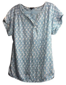 Ann Taylor Top Teal pattern on white