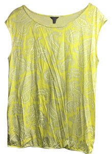 Ann Taylor Top Yellow with white and grey paisley