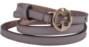 Gucci Gucci Women's Lilac Leather Interlocking GG Buckle Skinny Belt 32 80 New