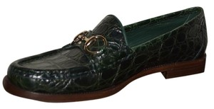Gucci Leather Loafers Horsebit Crocodile Green Flats