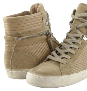 French Connection Sneakers Zippers Suede Nude/ Beige Athletic