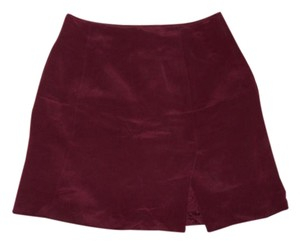 INC International Concepts Silk Mini Slit Red Mini Skirt Burgundy