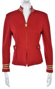 St. John St Marie Gray Womens Red Jacket