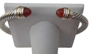 David Yurman large sz 5 mm silver Cable Bracelet with 14k gold ends and Carnelian