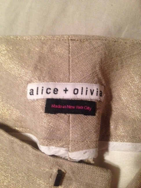 Alice + Olivia Flare Pants Natural with gold sparkle