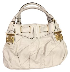 Juicy Couture Leather Buckle Satchel in White
