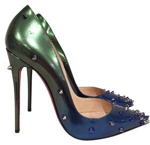 Christian Louboutin Degraspike Spike Patent Stiletto Ombre green Pumps
