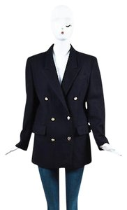 Burberrys Navy Blue Wool Gold Tone Button Double Breasted Blazer Jacket