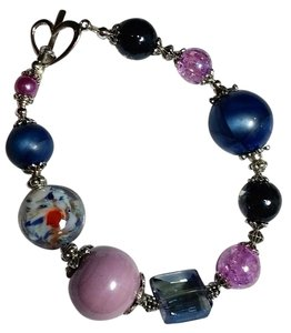 Other New Purple Silver Handmade Glass Bracelet J3003