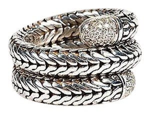 John Hardy John Hardy Sterling Silver 18k White Gold Pave Diamond Scale Motif Coil Ring