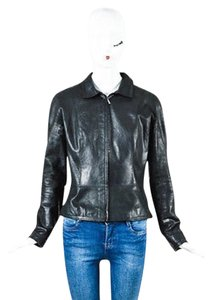 Loewe Leather Zip Pointed Collar Front Black Jacket
