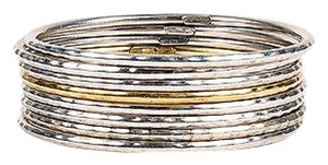 Roberto Coin Roberto Coin 18k Yellow Gold Sterling Silver Martellato Bangle Set