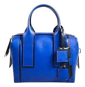 Pierre Hardy Hardy Black Leather Bandit Ghw Satchel in Blue