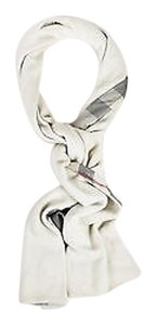 Burberry Burberry Light Gray Red Black Cashmere Nova Check Printed Scarf