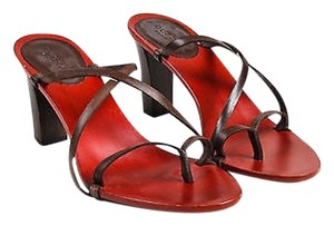 Gucci Red Wood Leather Brown Sandals