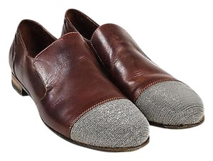 Brunello Cucinelli Leather Silver Beaded Slip On Loafers Brown Flats