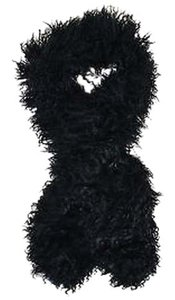Toria Rose Black Mongolian Lamb Fur Shaggy Long Scarf