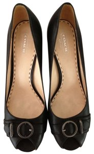 Coach Peep Toe Signature Leather Black Pumps