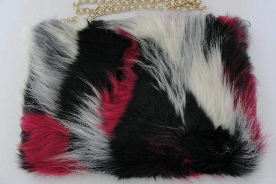 Karma Faux Fur Fur Pink White Black Cross Body Bag