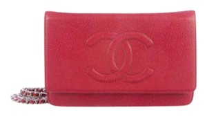 Chanel Chanel Red Timeless Wallet on Chain WOC Caviar Leather 15B