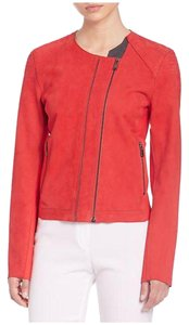Elie Tahari Lamb Leather Suede RED Leather Jacket