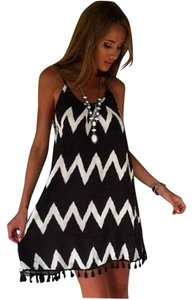 Other short dress Black, white P2276 Swimsuit Cover Size Small Black on Tradesy