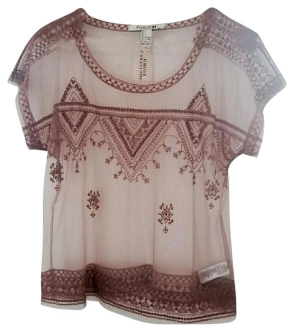 Preload https://item4.tradesy.com/images/forever-21-peach-lace-short-sleeve-blouse-size-4-s-20003638-0-3.jpg?width=400&height=650