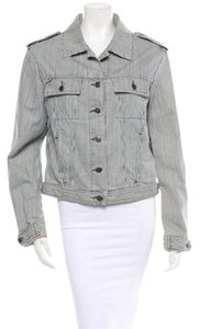 Burberry Designer Navy/White Stripe Womens Jean Jacket