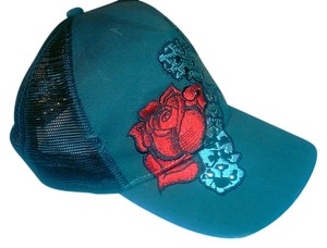 Contraband NEW Unisex Hip Hop Red Rose and Cross Detail Fashion Black Hat Baseball Cap Ed Hardy Style - Adjustable Size