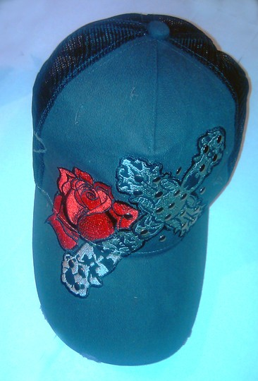Contraband NEW Unisex Red Rose and Cross Detail Fashion Hat Baseball Cap Style