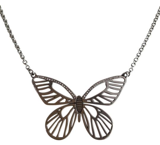 Preload https://item5.tradesy.com/images/fossil-silver-tone-clear-stones-stainless-steel-butterfly-and-21-necklace-2000409-0-0.jpg?width=440&height=440