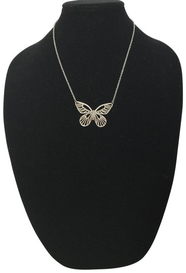 Preload https://img-static.tradesy.com/item/2000409/fossil-silver-tone-clear-stones-stainless-steel-butterfly-and-21-necklace-0-2-540-540.jpg
